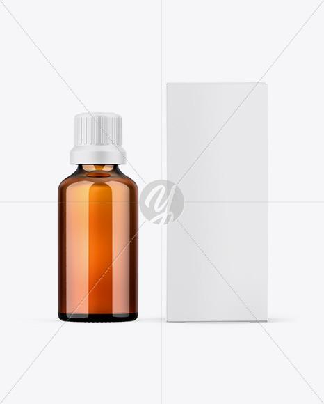 Paper Box W/ Amber Bottle Mockup