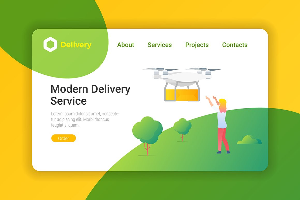 Delivery Cargo Flat Design Vector Templates
