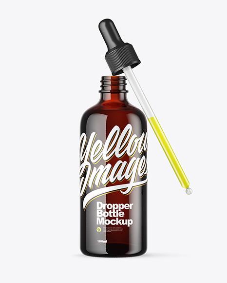 Dark Amber Dropper Bottle Mockup