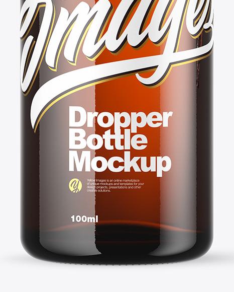 Amber Dropper Bottle Mockup