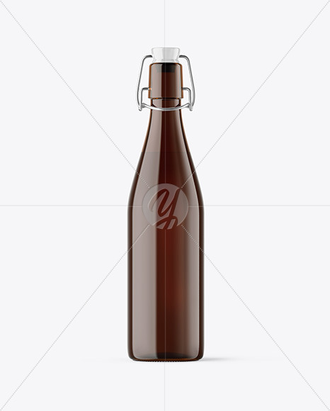 Amber Glass Bottle with Clamp Lid Mockup
