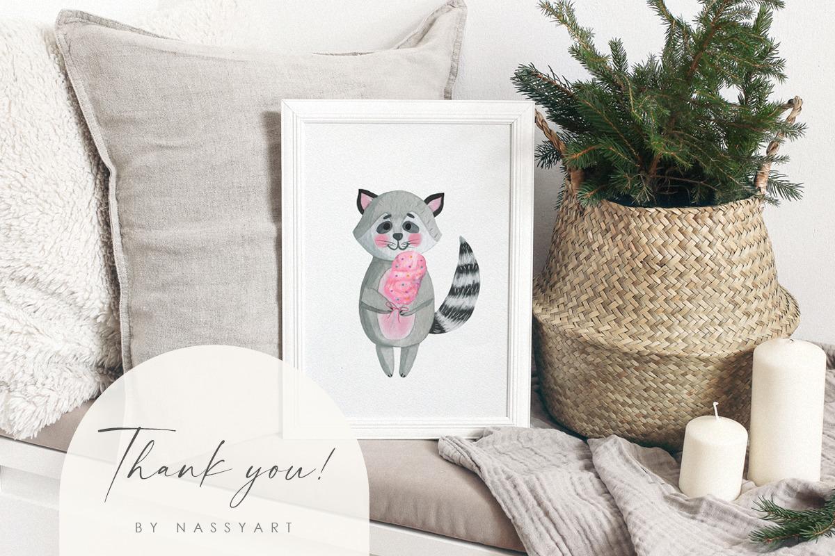 Watercolor Animal Nursery Clip Art