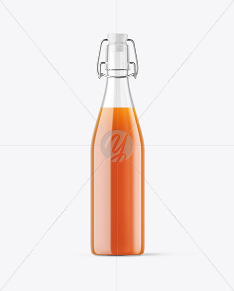 Clear Glass Juice Bottle with Clamp Lid Mockup