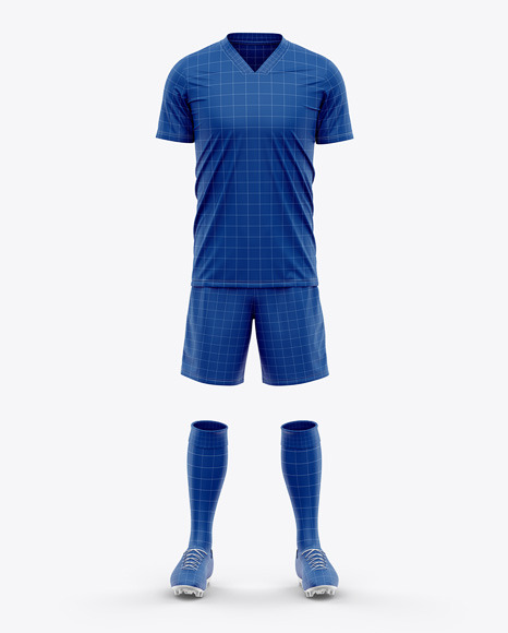 Men's Full Soccer Kit - Front View - V-Neck Jersey Football Kit