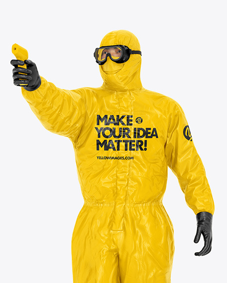 Man in Medical Protective Suit Mockup