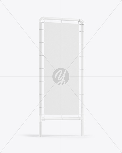 Plastic Stand w/ Fabric Banner Mockup - Side View