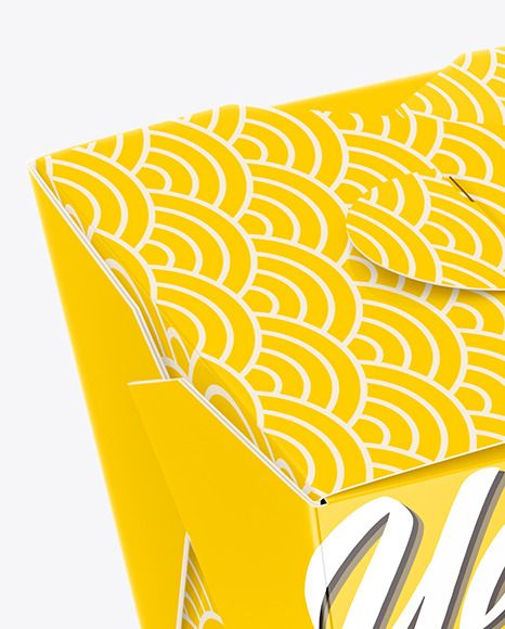 Download Glossy Paper Noodles Box Mockup High Angle Shot In Box Mockups On Yellow Images Object Mockups