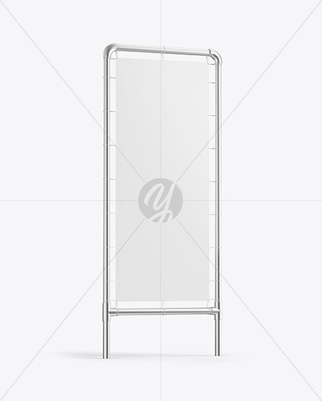 Metallic Stand w/ Matte Banner Mockup - Side View