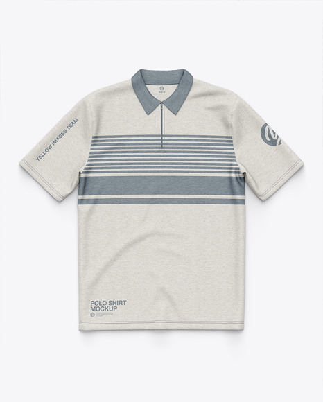 Heather Polo Shirt With ZIp Collar - Top View