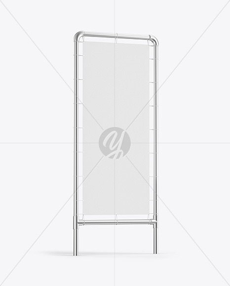 Metallic Stand w/ Fabric Banner Mockup - Side View