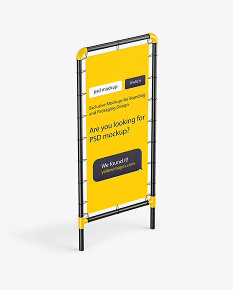 Plastic Stand w/ Fabric Banner Mockup - Half Side View