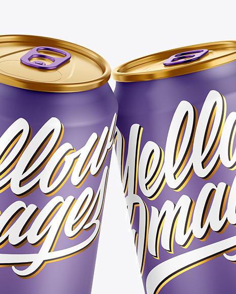 Three Metallic Drink Cans w/ Matte Finish Mockup