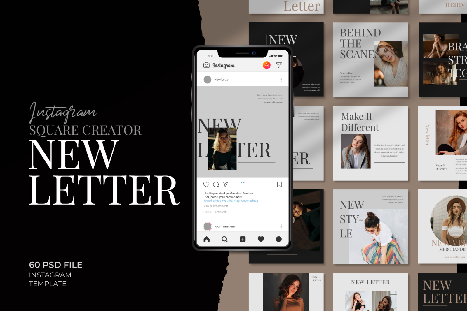 Download New Letter Instagram Post Creator In Social Media Templates On Yellow Images Creative Store Yellowimages Mockups