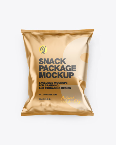 Download Matte Metallic Snack Package Mockup In Flow Pack Mockups On Yellow Images Object Mockups PSD Mockup Templates