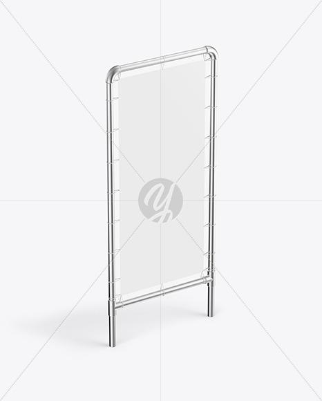 Metallic Stand w/ Matte Banner Mockup - Half Side View