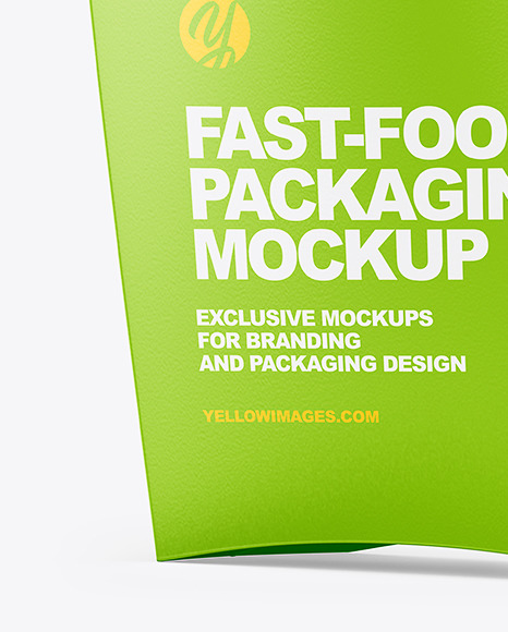 Download Matte Paper Medium Size Fast Food Packaging Mockup Half Side View In Box Mockups On Yellow Images Object Mockups PSD Mockup Templates