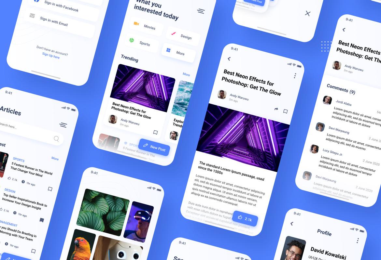 Blog News iOS App Figma & PSD Template