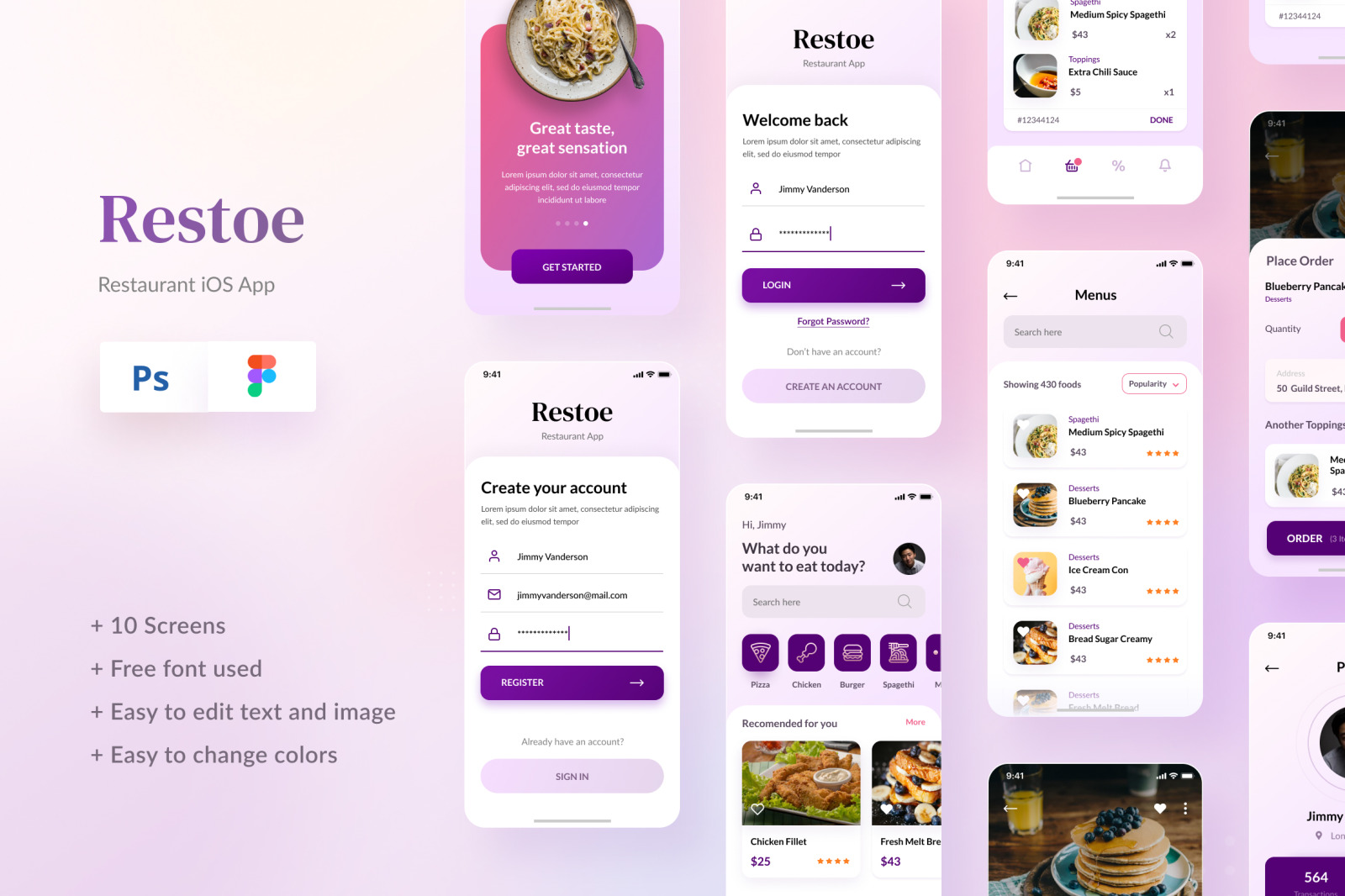 Download Restoe Restaurant Food App Design Figma Psd In Ux Ui Kits On Yellow Images Creative Store PSD Mockup Templates