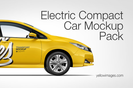 Compact Car Mockup Pack In Handpicked Sets Of Vehicles On Yellow Images Creative Store