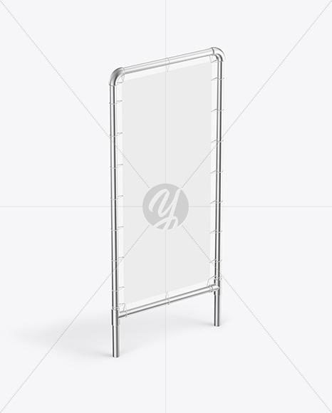 Metallic Stand w/ Fabric Banner Mockup - Half Side View