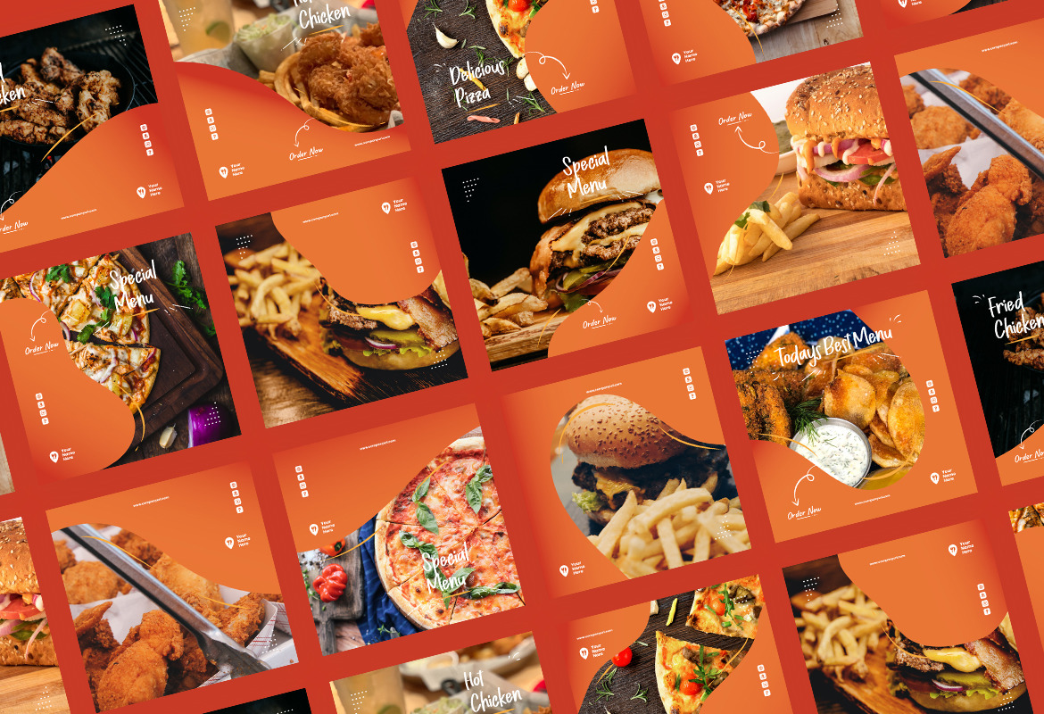 Fast Food Instagram Puzzle Ads Story and Post