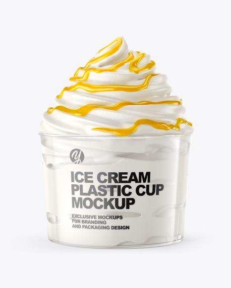 Ice Cream Plastic Cup with Mango Sauce Mockup