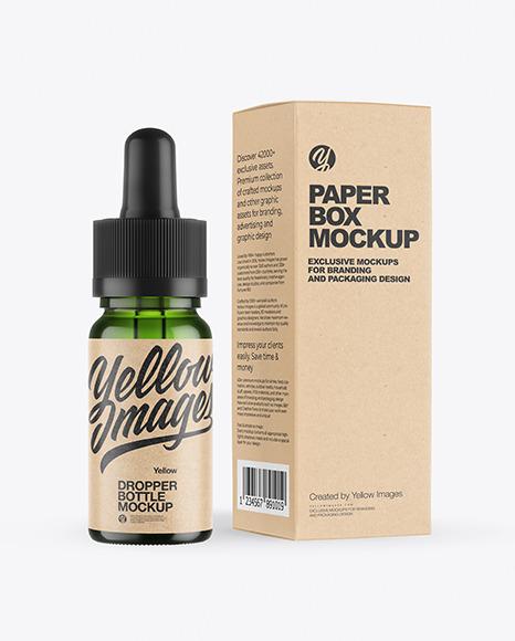 Green Glass Dropper Bottle with Kraft Paper Box Mockup