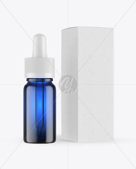 Blue Glass Dropper Bottle with Kraft Paper Box Mockup