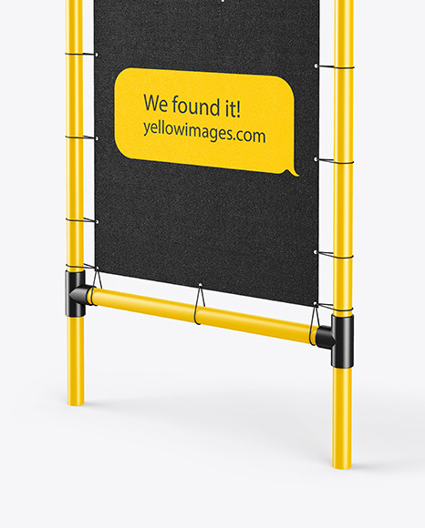 Plastic Stand w/ Fabric Banner Mockup - Right Side View