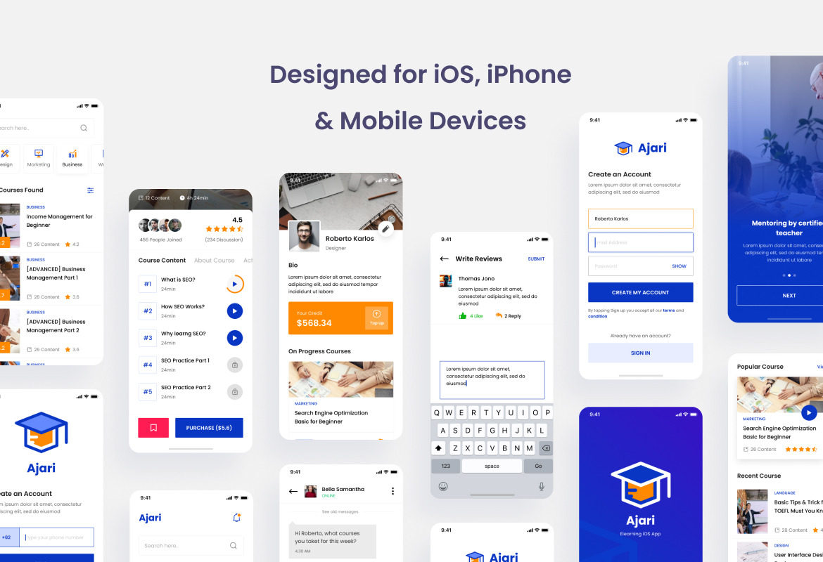 Ajari - E-learning iOS App Design UI Figma PSD Template