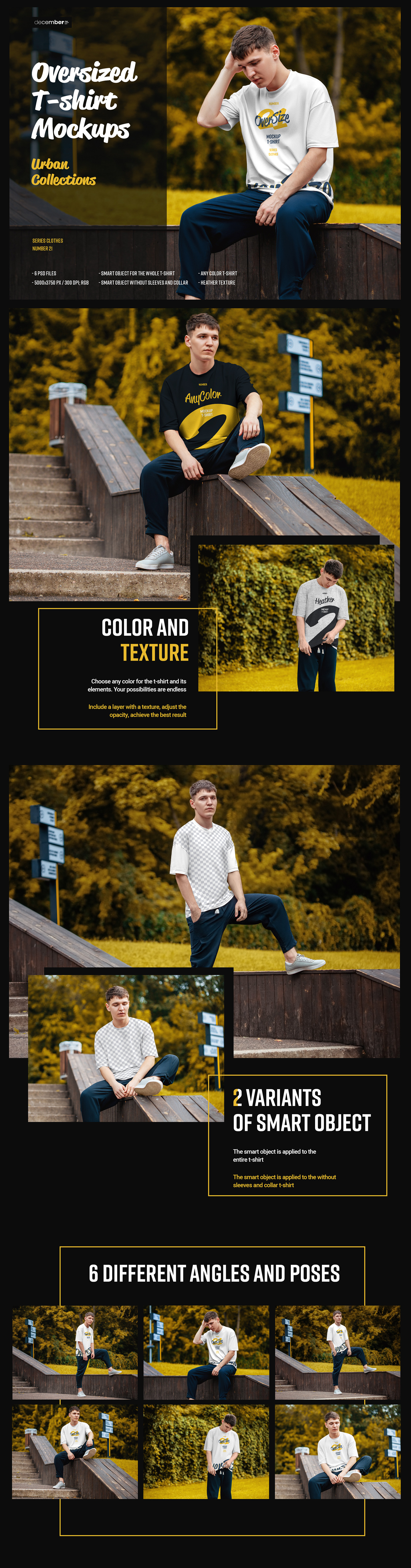 Download 6 Oversized T Shirt Mockup Urban Style In Apparel Mockups On Yellow Images Creative Store PSD Mockup Templates
