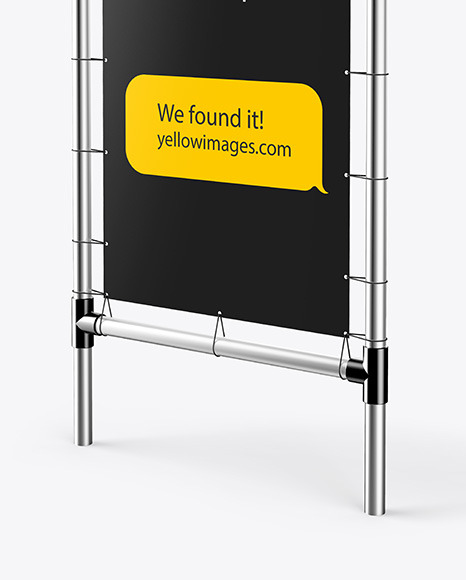 Metallic Stand w/ Matte Banner Mockup - Right Side View