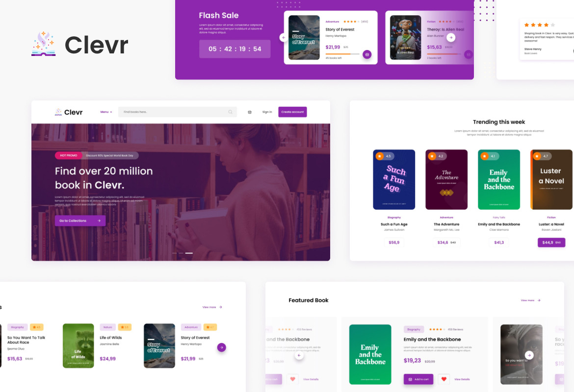 Clevr - Book Store Ecommerce Website Template
