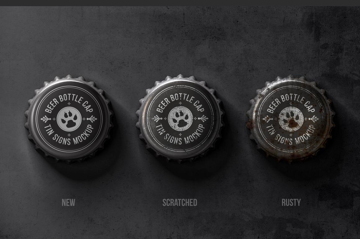 Bottle Cap Metal Tin Signs Mockup