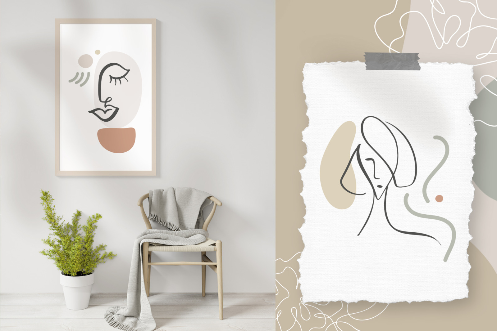 Abstract Line Art Faces