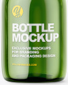 Small Green Glass Bottle With Plastic Cap Mockup - Front View