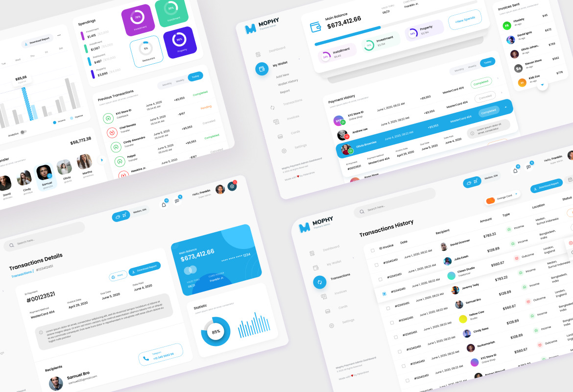 Mophy - Payment Admin Dashboard UI Template