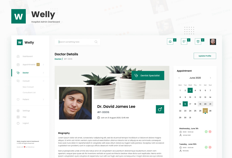 Welly - Hospital Admin Dashboard UI Template
