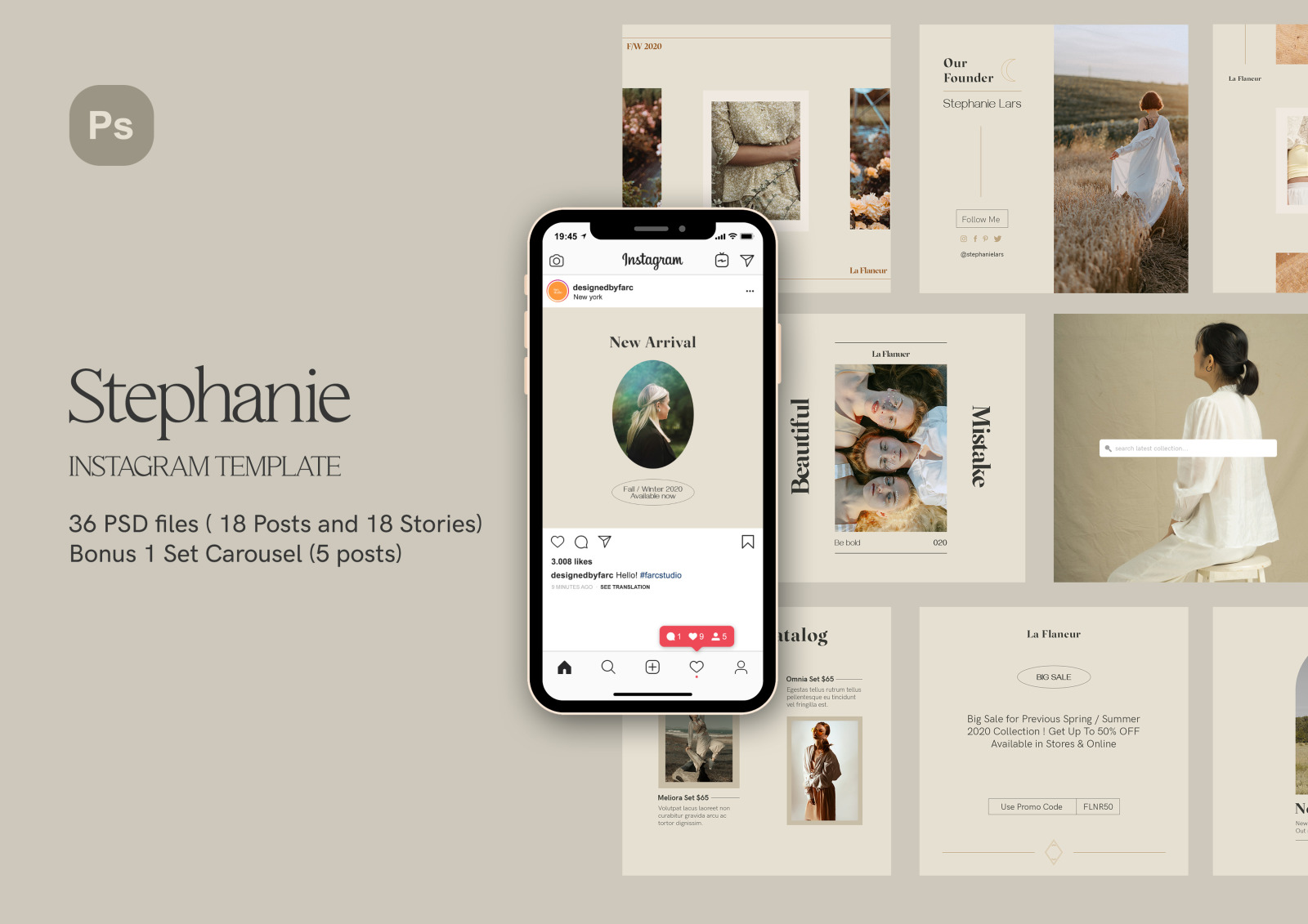 Stephanie PSD Instagram Template