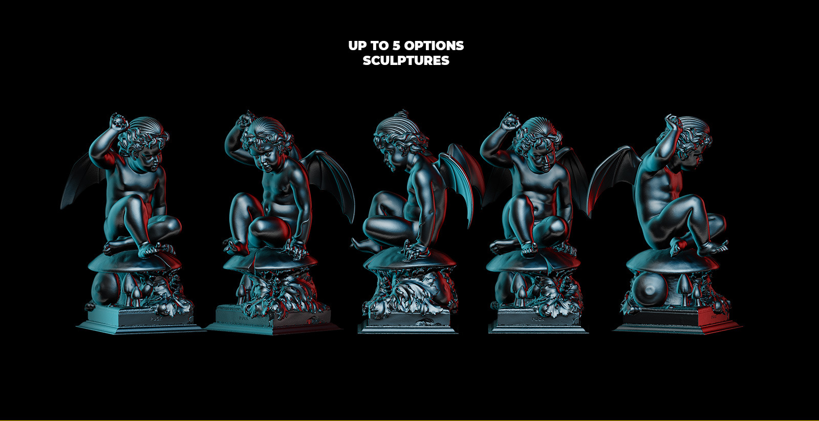 Collection of 343 Sculptures in black style # 08 for branding and design of your product