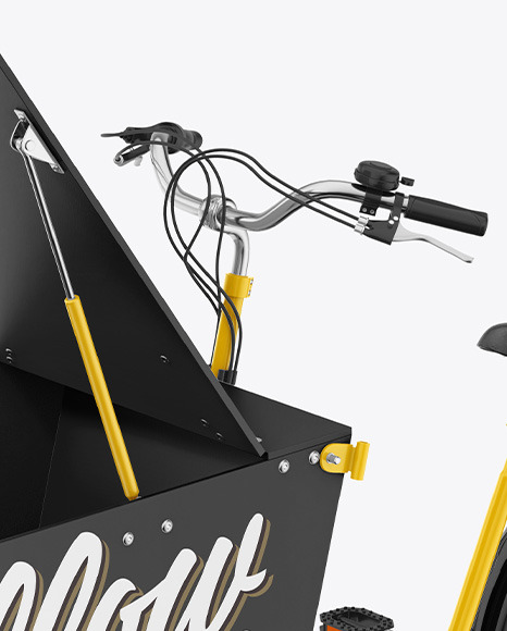 Cargo Bike w/ Opened Trunk Mockup - Half Side View
