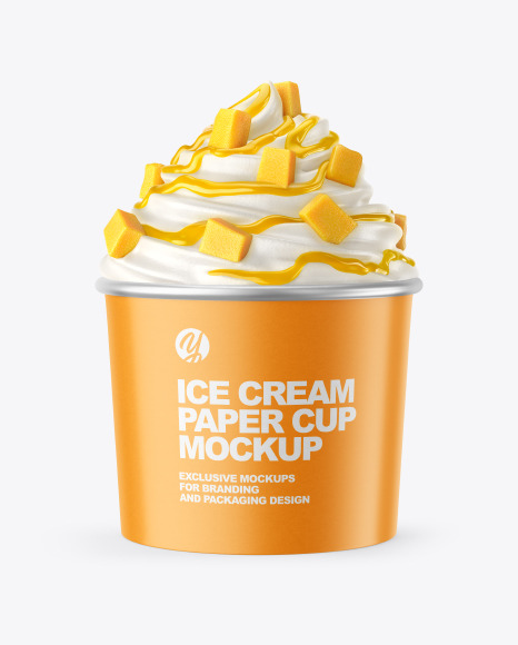 Ice Cream Paper Cup with Mango Topping Mockup