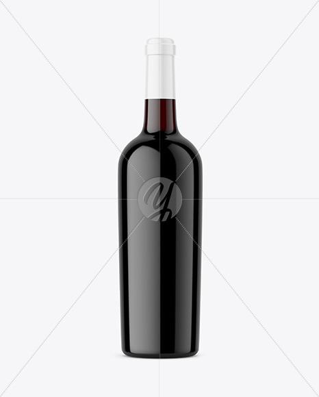 Dark Glass Red Wine Bottle Mockup