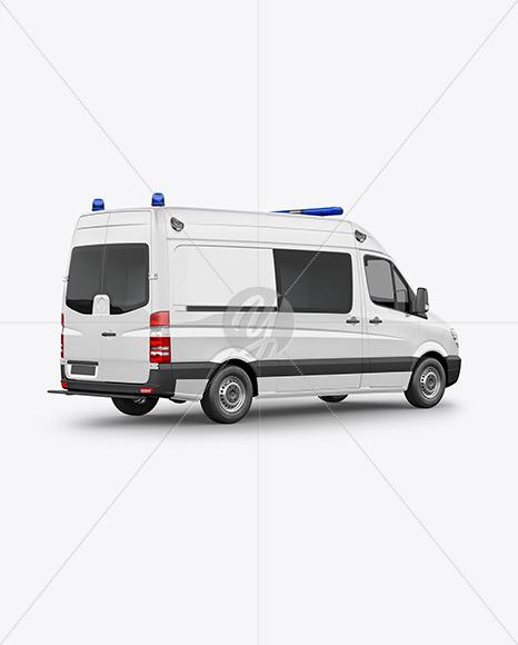 Van Ambulance Mockup - Back Half Side View - Yellowimages Mockups