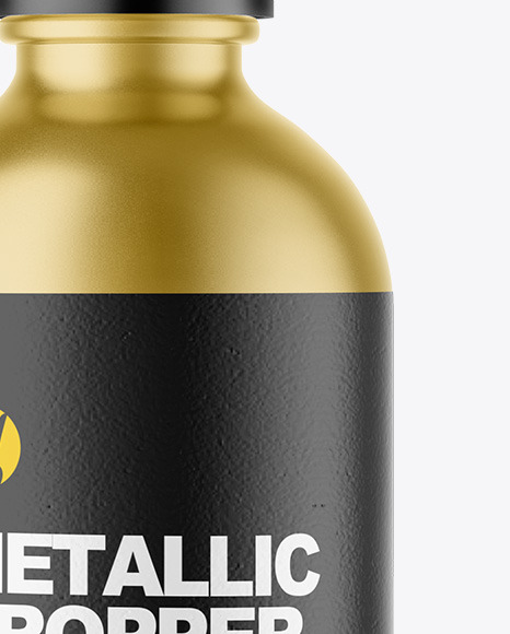 Matte Metallic Dropper Bottle Mockup