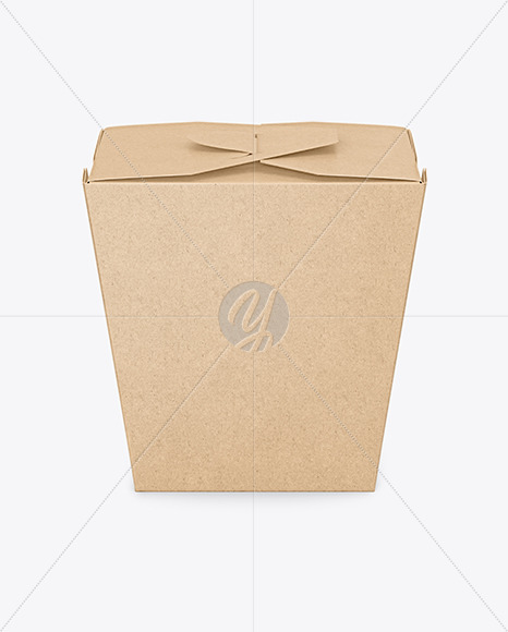 Download Kraft Paper Noodles Box Mockup Front View High Angle Shot In Box Mockups On Yellow Images Object Mockups
