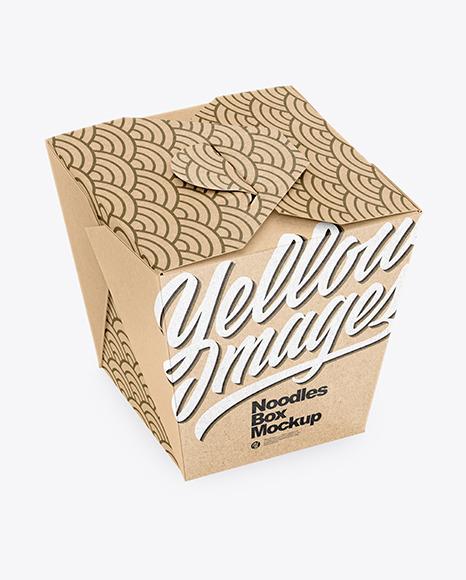 Download Kraft Paper Noodles Box Mockup High Angle Shot In Box Mockups On Yellow Images Object Mockups