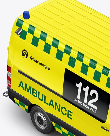 Van Ambulance Mockup - Half Side View (High-Angle Shot)