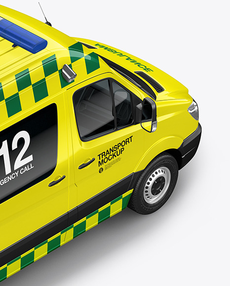Van Ambulance Mockup - Half Side View (High-Angle Shot)