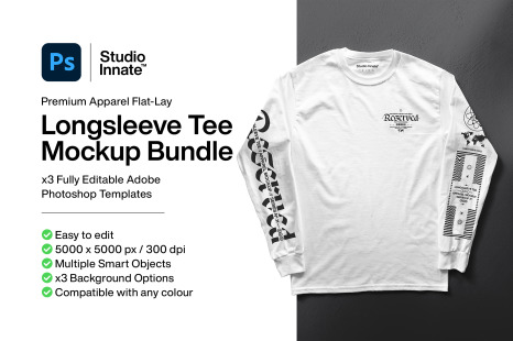 Download Long Sleeve T Shirt Mockup Bundle In Apparel Mockups On Yellow Images Creative Store PSD Mockup Templates